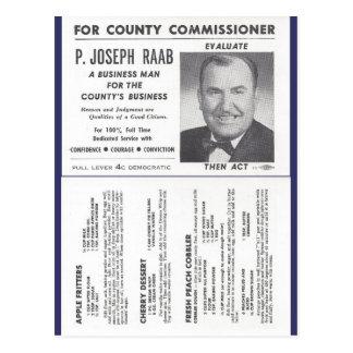 Cartão Postal Receitas do pomar de Joe Raab & anúncio político
