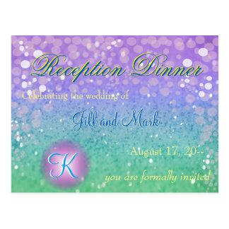 Cartão Postal Recepção Glam de Glo dos confetes roxos da