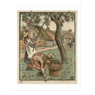 """Cartão Postal Recolhendo maçãs, de """"dos campeões do DES Travaux,"""