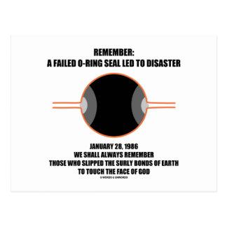 Cartão Postal Recorde: Um selo falhado do anel-O conduzido ao