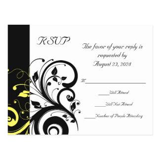 Cartão Postal Redemoinho reverso preto e amarelo