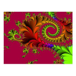 Cartão Postal Redemoinhos Feathery coloridos do Fractal