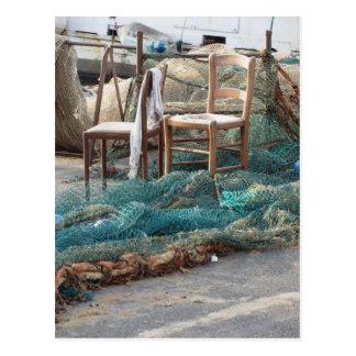 Cartão Postal Redes de pesca Weathered em um cais do porto