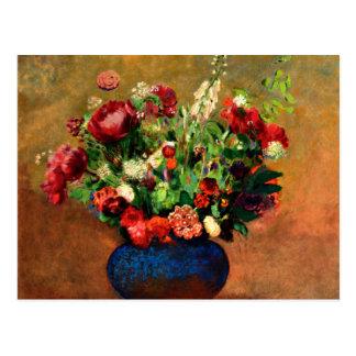 Cartão Postal Redon - papoilas e William doce em um vaso azul