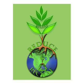 Cartão Postal Reduza o reciclar Releaf