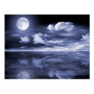 Cartão Postal Reflexão da lua do oceano