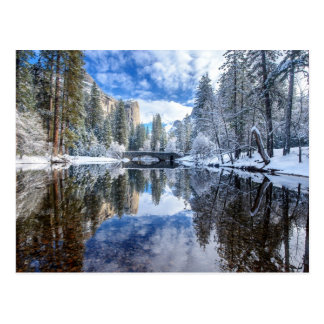 Cartão Postal Reflexão do inverno em Yosemite