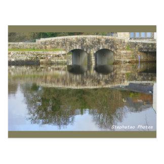 Cartão Postal Reflexos da ponte de Huelgoat BRETANHA FRANÇA