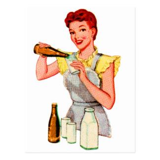 Cartão Postal Refrigerante root beer retro e leite da soda do 50
