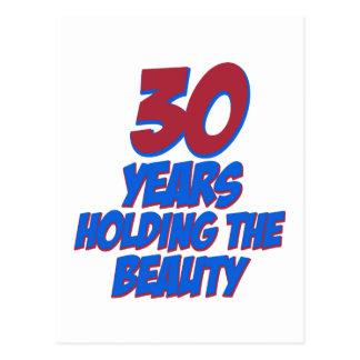 Cartão Postal refrigere 30 anos de design velho do aniversário
