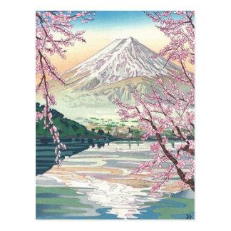 Cartão Postal Refrigere a arte oriental da árvore de cereja do