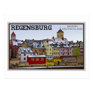 Cartão Postal Regensburg - inverno ao longo do Donau