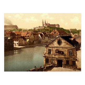 Cartão Postal Regnitz e Michaelsberg Bamberga Baviera Alemanha