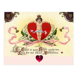 Cartão Postal REI CORAÇÃO do CUPIDO, dia dos namorados VERMELHO
