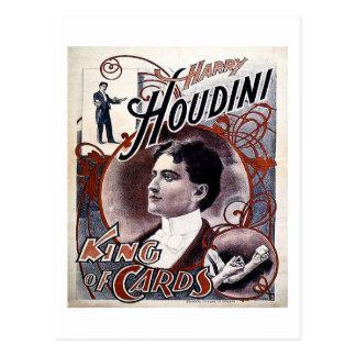 Cartão Postal Rei de Harry Houdini do vintage da propaganda dos