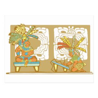 Cartão Postal Rei e escrevente maias
