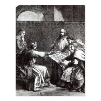 Cartão Postal Rei John que recusa assinar o Charta de magnum