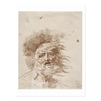 Cartão Postal Rei Lear na tempestade (caneta e tinta do bistre