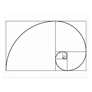 Cartão Postal Relação dourada espiral de Fibonacci