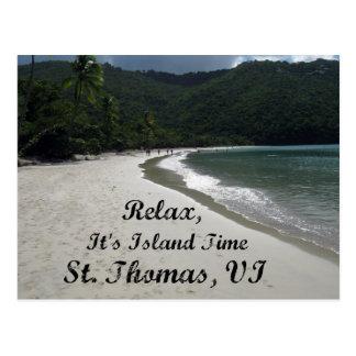 Cartão Postal Relaxe, ele é tempo da ilha, St Thomas VI