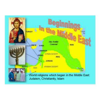 Cartão Postal Religiões do mundo, começos do Oriente Médio