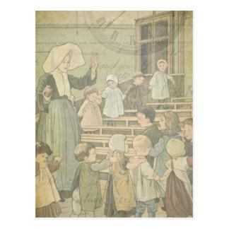 Cartão Postal Relógio do vintage da sala de aula da escola das