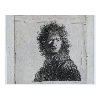 Cartão Postal Rembrandt: Auto-retrato, olhando de sobrancelhas