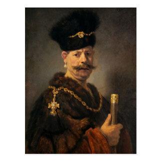 Cartão Postal Rembrandt_van_Rijn_-_A_Polish_nobleman
