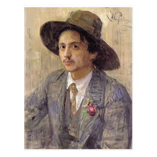 Cartão Postal Repin-Retrato de Ilya do pintor Isaak Brodsky