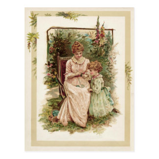 Cartão Postal Reprodução do vintage da mãe e da criança