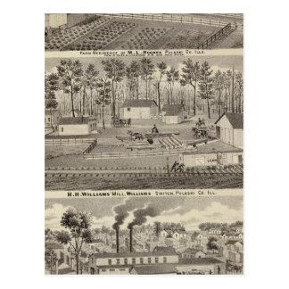 Cartão Postal Residência e moinhos e jardas da madeira serrada