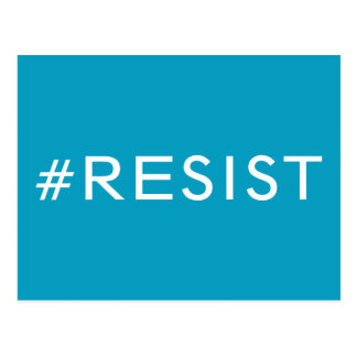 Cartão Postal #Resist, texto branco corajoso na luz - azul,