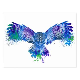 Cartão Postal Respingo azul da cor da coruja