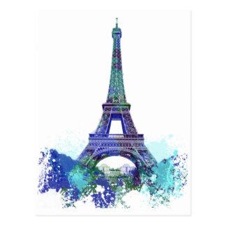 Cartão Postal Respingo da cor de Eiffel da excursão do La