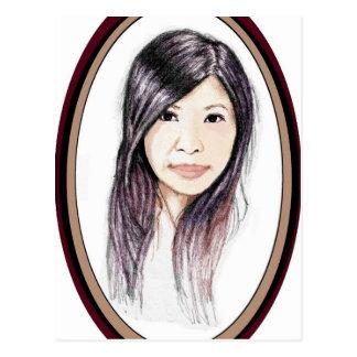 Cartão Postal Retrato bonito de uma mulher asiática