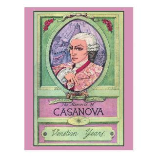 Cartão Postal Retrato colorido pastel de Casanova do vintage