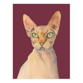 Cartão Postal Retrato da aguarela do gato de Sphynx