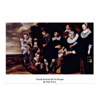 Cartão Postal Retrato da família de dez pessoas por Hals Frans