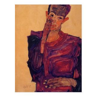 Cartão Postal Retrato de auto de Egon Schiele- com mão ao
