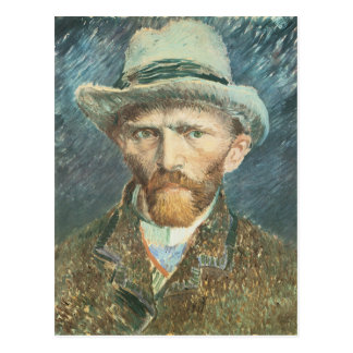 Cartão Postal Retrato de auto de Vincent van Gogh com o chapéu