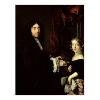 Cartão Postal Retrato de Charles Couperin e filha