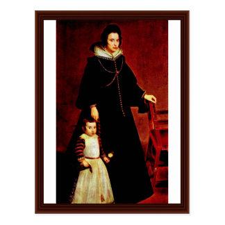Cartão Postal Retrato de Doña Antonia Ipeñarrieta com um filho