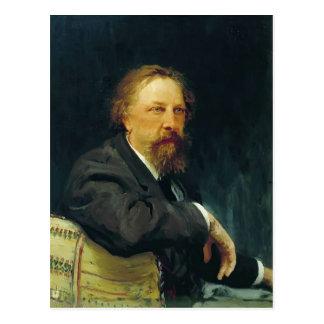 Cartão Postal Retrato de Ilya Repin- do escritor Aleksey Tolstoy