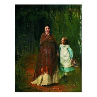 Cartão Postal Retrato de Ivan Kramskoy- da esposa e da filha