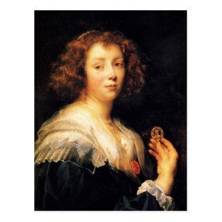 Cartão Postal Retrato de Jacob Jordaens- de uma jovem senhora