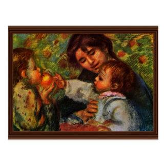 Cartão Postal Retrato de Jean Renoir e de Gabrielle com seu qui