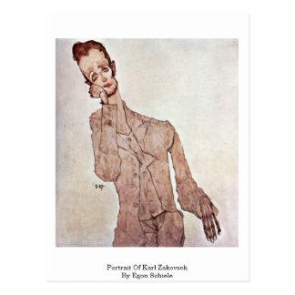 Cartão Postal Retrato de Karl Zakovsek por Egon Schiele