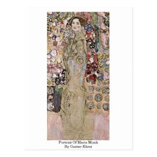 Cartão Postal Retrato de Maria Munk por Gustavo Klimt