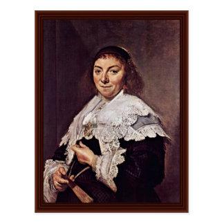 Cartão Postal Retrato de Maria Pietersdr. Olycan por Hals Frans