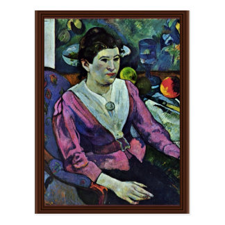Cartão Postal Retrato de Marie Derrien Lagadu por Gauguin Paul